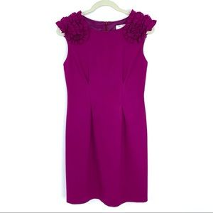 Trina Turk Fitzgerald Sheath Dress Ruffle Shoulder
